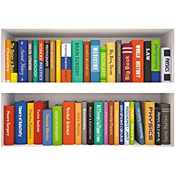 Woodland Arts 35 X 24 Fake Book Shelf Colorful Various Books Wall Decal Stickers For Classroom Office Bars