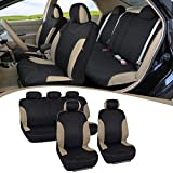 Automotive : BDK Beige Trim Black Car Seat Covers Full 9pc Set - Sleek & Stylish - Split Option Bench 5 Headrests Front & Rear Bench