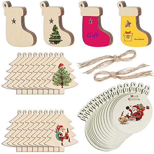 50 PCS Wooden Christmas Ornaments, DIY Unfinished Wood Pieces Slices Wood Rounds Ornaments Wood Discs Wooden Circles To Paint Color With Holes Twines For Crafts Christmas Tree Blank Wooden Stocking Or