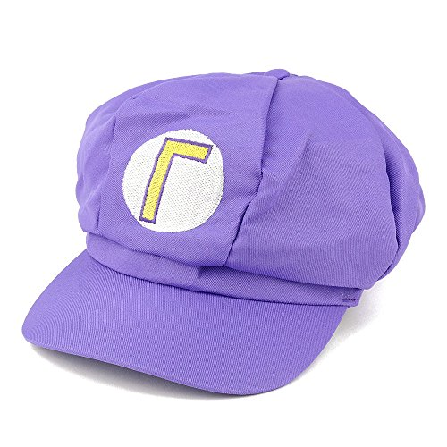 [Mario, Luigi, Wario, Waluigi, Fire Mario Embroidered Nintendo Newsboy Hat - Purple Waluigi] (Nintendo Costumes For Adults)