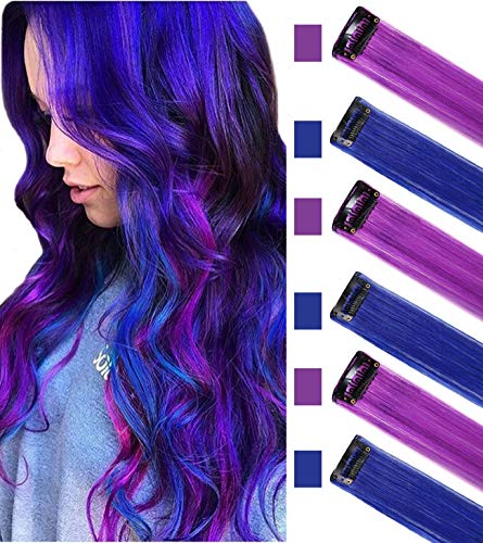 ECOCHARMS 6PCS Princess Party Highlight Clip in Colored Hair Extension Costumes Wig for Baby Girls&Dolls(Purple&Blue)