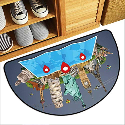 (Half Round Door Mat Famous Monuments of The World grouped Together on a map with pin icon Garage Entry Carpet Decor W23xH15 INCH )
