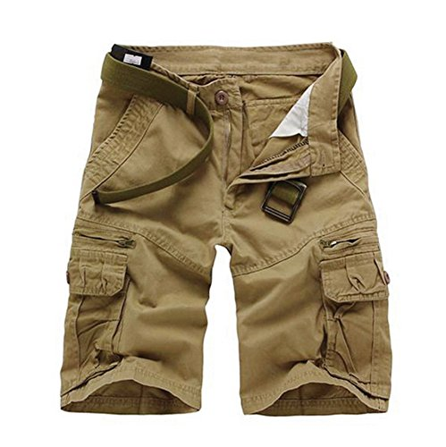 Musen Men Cotton Relaxed Fit Multi Pocket Outdoor Casual Cargo Shorts Yellow 38 ()