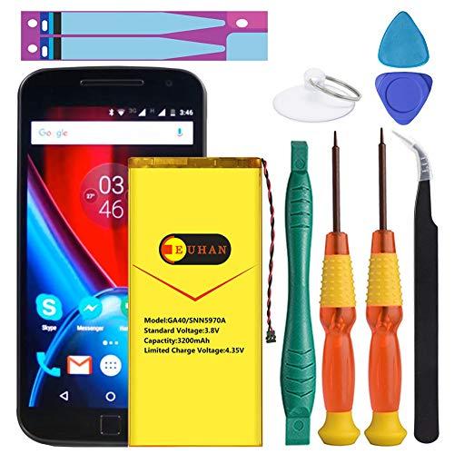 (Upgraded) Motorola G4 Plus Battery, Euhan 3200mAh Replacement Battery for Motorola Moto G4 Plus GA40, XT1641 XT1642 XT1643 XT1644 SNN5966A SNN5970A +Repair Replacement Kit Tools [12 Month Warranty]