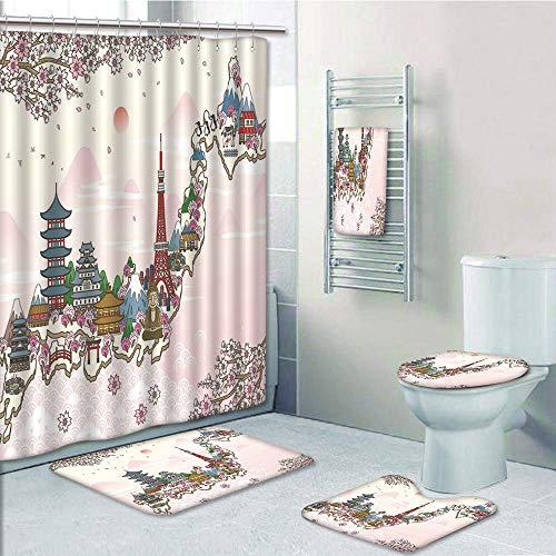 Poster Set Branches - Bathroom 5 Piece Set shower curtain 3d print,Japanese,Japan Travel Poster with Sakura Tree Branches Blossoms Asian Journey Destination,Multicolor,Bath Mat,Bathroom Carpet Rug,Non-Slip,Bath Towls