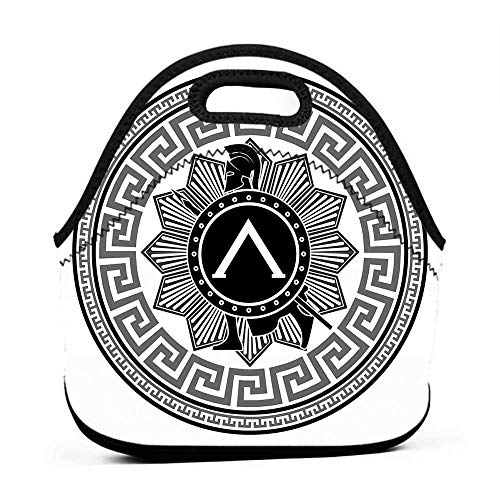 Travel Case Lunchbox with Zip Toga Party,Label with Greek Pattern Spartan Figures Silhouette Retro Icon Design,Grey Black White,cooler for lunch -