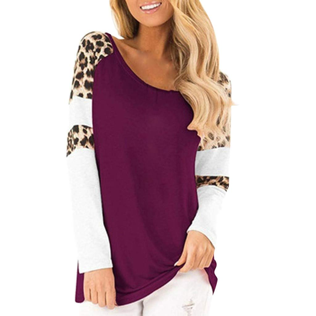 QIUUE Women Elegant Leopard Print Sweatshirt Long Sleeve Splicing Blouses Round Neck Casual Tops Comfy Patchwork Pullovers Purple by QIUUE