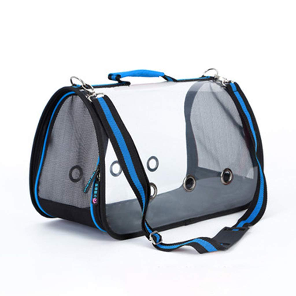 bluee 52x25x27cm bluee 52x25x27cm Pet Carrier Bags Transparent Field of View, Portable Pet Bag Waterproof and Breathable, Pet Carrier Tote Airline Approved for Car Train and Airplane Travel,bluee,52x25x27cm