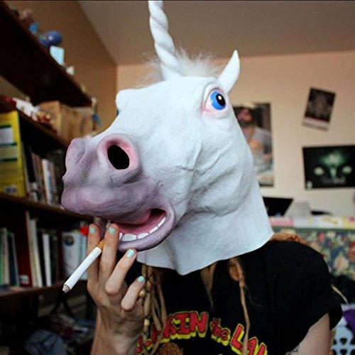 Qupida Halloween Horse Head Cosplay Costume Party Latex Rubber Prop Animal Mask]()