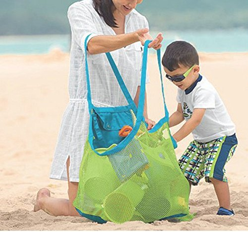 BeeSpring Extra Large Family Mesh Beach Bag Tote Backpack Toys Towels Sand Away
