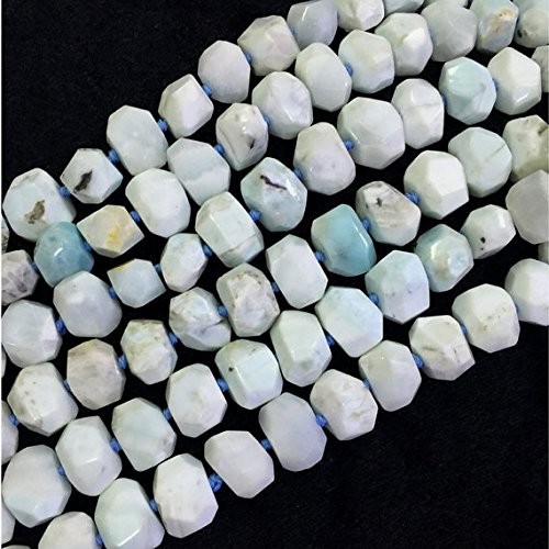 JP_Beads 1 Strands Natural White Blue Larimar Nugget Free Form Hand Cut Faceted 13x18mm 15
