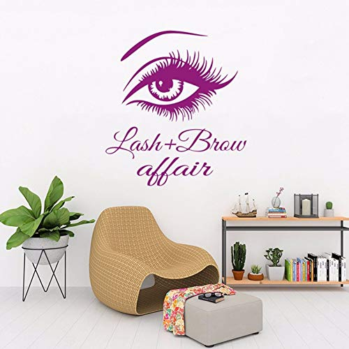 pbldb 57X59Cm Beauty Salon at Home Purple Sticker Eyelashes Wall Decal Bedroom Make-Up Room Decorative Home Decoration Poster