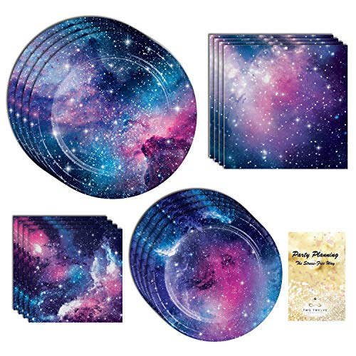 Galaxy Party Supplies, Outer Space and Star Design, 16 Guests, 65 Pieces, Disposable Paper Dinnerware, Plate and Napkin Set