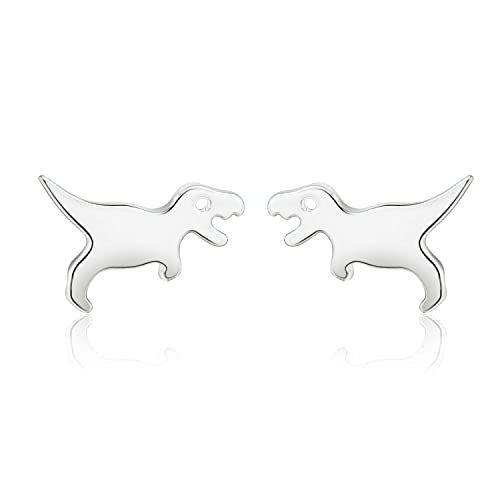 11a296c64 CISHOP Dinosaur Stud Earrings Cute Tiny Earrings in Sterling Silver for  Gift (Silver)