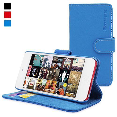 Snugg iPod Touch 6G/5G Flip Case & (Blue Leather) for iPod Touch (5th/6th Generation)