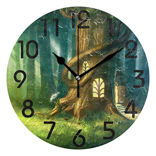 Naanle Magical Fantasy Fairy Tale Tree House Printed Round Wall Clock Decorative, 9.5 Inch Battery Operated Quartz Analog Quiet Desk Clock for -