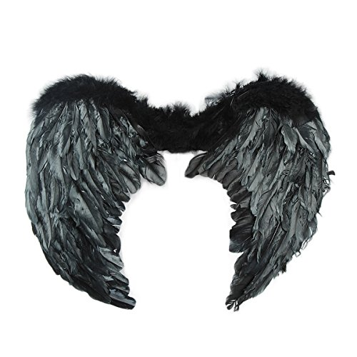[Dazone Black Angel Feather Wings Costume] (Costumes Of Angel)