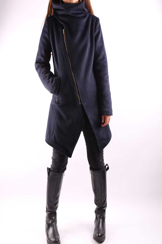 Women's Cashmere Wool Coat Dark Blue