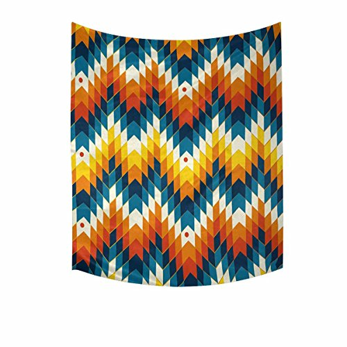 INTERESTPRINT Hippie Navajo Southwest Native American Geometric Print Tapestry Wall Hanging Tapestries Art for Bedroom Living Room Dorm, 51 W X 60 L Inches