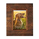wooden frame - EosGlac Wooden Picture Frame, 5 x 7 Rustic  finish Wood Plank Design, 100% Premium Handmade (5x7, Brown)