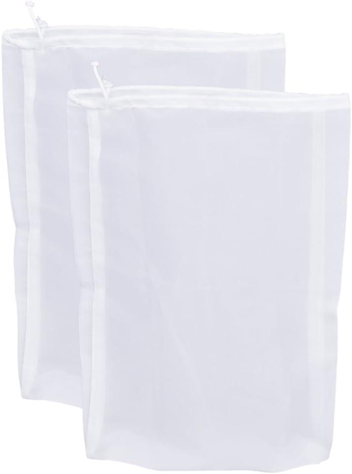 "Pinfox 75 Micron Nylon Straining Bag Fine Mesh Food Strainer Bag, Multi Purpose Food Grade Filter Bag for Nut Milk, Juice, Cold Brew, Home Brewing (2 Packs, 12.6"" x 8.66"")"