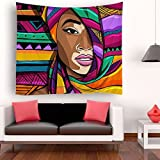 SARA NELL Tapestry Black Art Africa Traditional Woman Color Rainbow Tapestries Wall Art Hippie Bedroom Living Room Dorm Wall Hanging Throw Tablecloth Bedspread(50''×60''