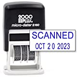 Cosco 2000 Plus Self-Inking Rubber Date Office Stamp with Scanned Phrase & Date - Blue Ink (Micro-Dater 160), 12-Year Band