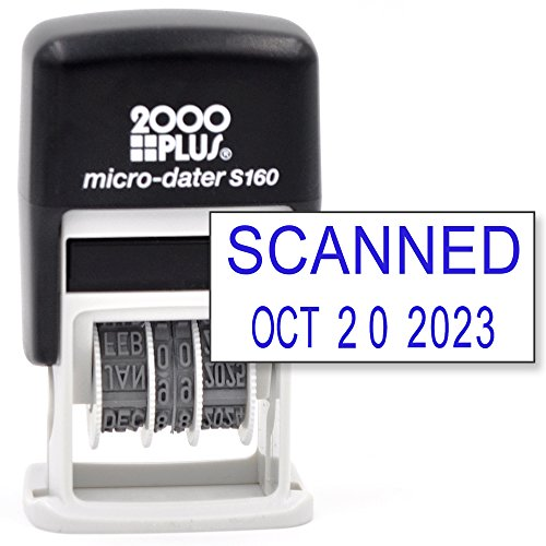 Plus Self 2000 Inking (Cosco 2000 PLUS Self-Inking Rubber Date Office Stamp with SCANNED Phrase & Date - BLUE INK (Micro-Dater 160), 12-Year Band)