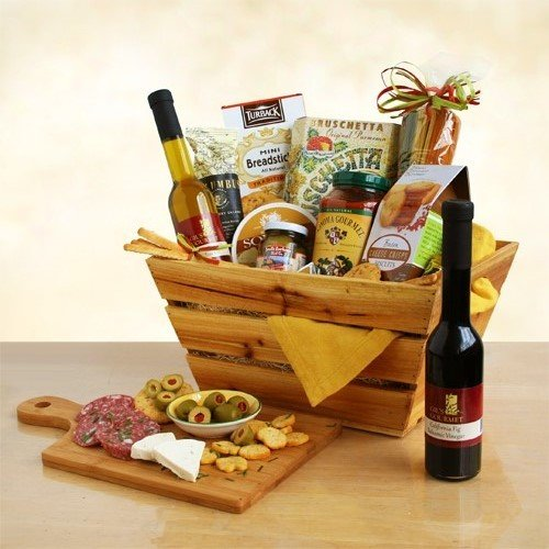 Italian Thank You Gift Basket | Pasta, Marinara Sauce, Olive Oil, Balsamic Vinegar, Olives, Salami and More (Gift Cooking Baskets)