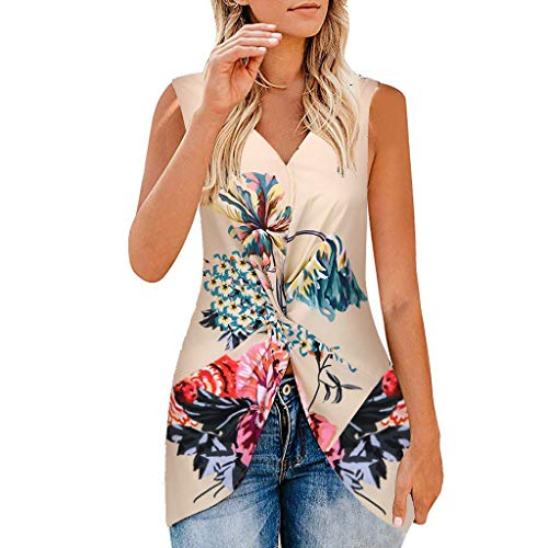 Shisay Women Florall Sleeveless V Neck Ruched Twist Knot Front Tunic Work Beach Top Blouse Khaki