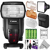 Canon Speedlite 600EX II-RT Flash w/ Essential Photo Bundle – Includes: Altura Photo Softbox Flash Diffuser, AA Rechargeable Batteries w/ Charger, Camera Cleaning Set