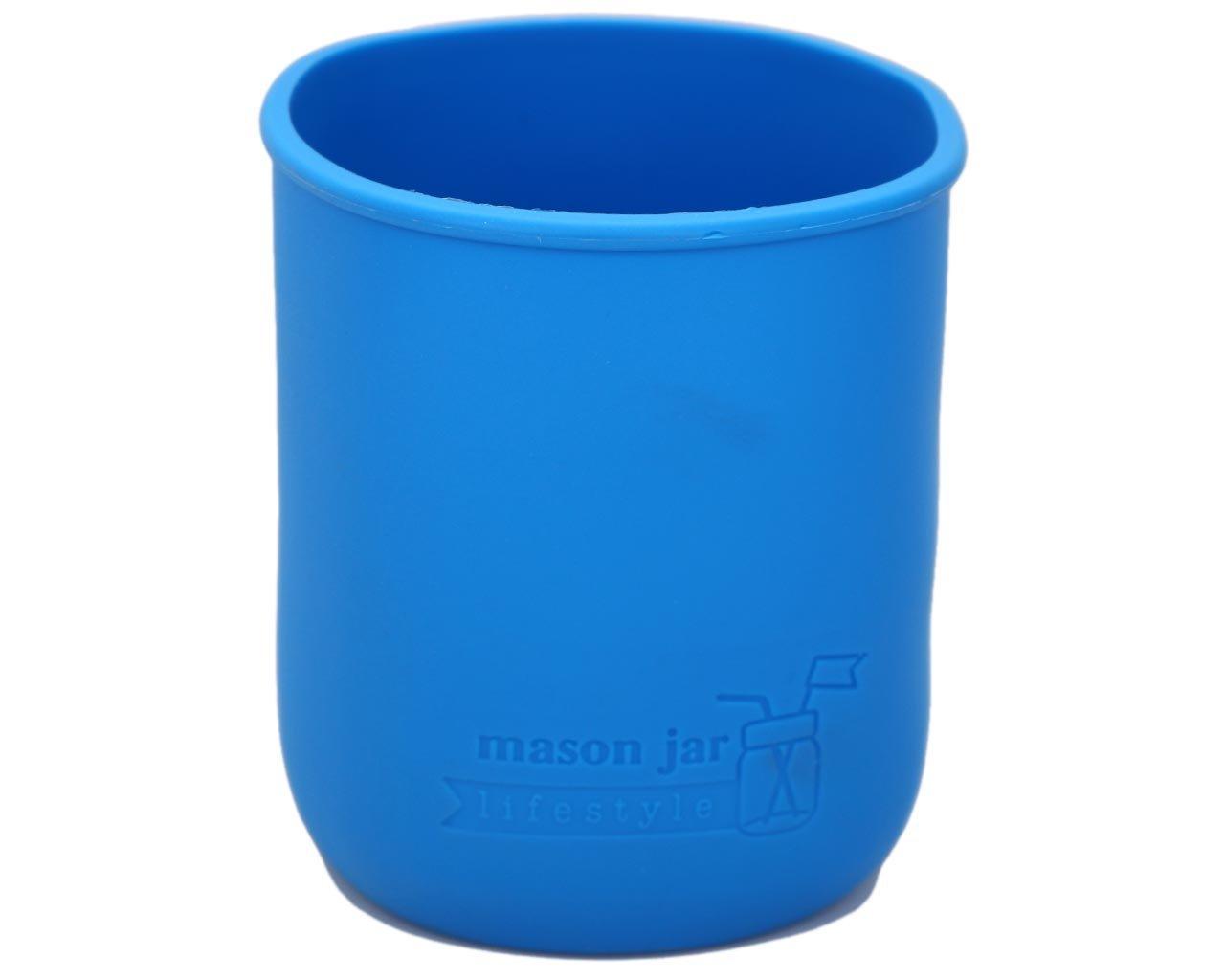 MJL Quart Silicone Sleeve for Mason Jars (Bright Blue, 2 Pack)