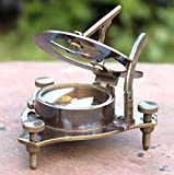 Antique Finish Sundial Compass Maritime Collectible Compass Brass Finish