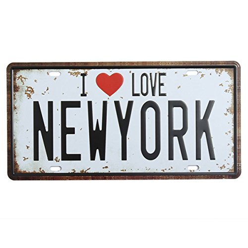 Bluelover Decoración De La Pared De Nueva York Licencia Placa Tin Cartel Vintage Metal Placa Cartel Bar Pub Casa