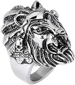 خاتم بشكل اسد - مجوهرات عصرية من ستيل التيتانيوم