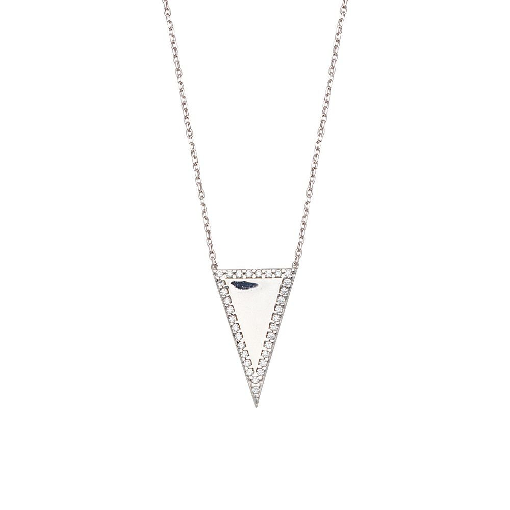 Sterling Silver Cubic Zirconia Triangle Adjustable Necklace