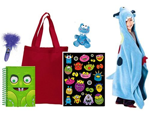 Jumping Beans Get Well Silly Monster Blanket Gift Set with Journal Pen Stickers and Plush in Tote Bag 6 Piece Bundle