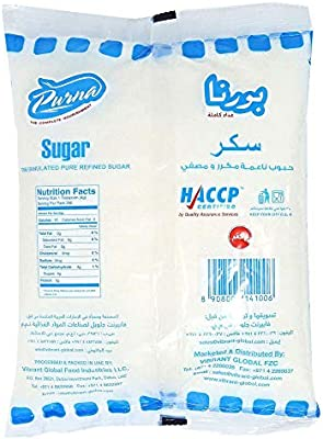 Purna White Crystal Sugar - 1 kg: Amazon com