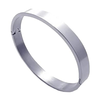 Brazalete de acero inoxidable - SODIAL(R) pulsera de joyeria de hombres y mujeres, brazalete de acero inoxidable, plata