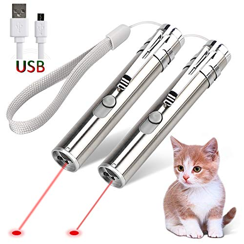 GO! Rechargeable Pet Training Exercise Chaser Tool, 3 Mode,Cat Light Toy (2 Packs)+A Pet Tag