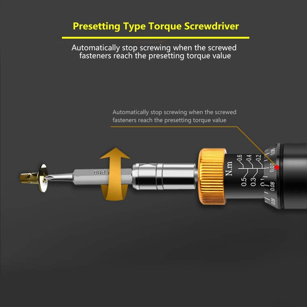 Hyuduo Preset Torque Driver Screwdriver 0.1-0.6Nm Hex Socket RTD-0.6 Torque Wrench for Assemble and Repair