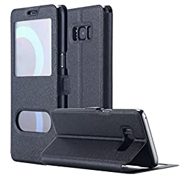 Galaxy S8 Case, AICase [ Window View ] PU Leather Magnetic Closure Flip View Case Folio Stand Cover for Samsung Galaxy S8 (Black) 10 The PU leather is custom fitted and slips perfectly over the curved form of Samsung Galaxy S8 and its camera. The screen can be seen from the cover. Multiple levels support function, watch the phone video without hands The inside pallet of the case is made of high quality PC material with strong toughness and fix your mobile phone, dual protection to your mobile phone.