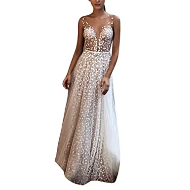 95051711652 Womens Elegant Mesh Lace Patchwork Wedding Party Maxi Dress