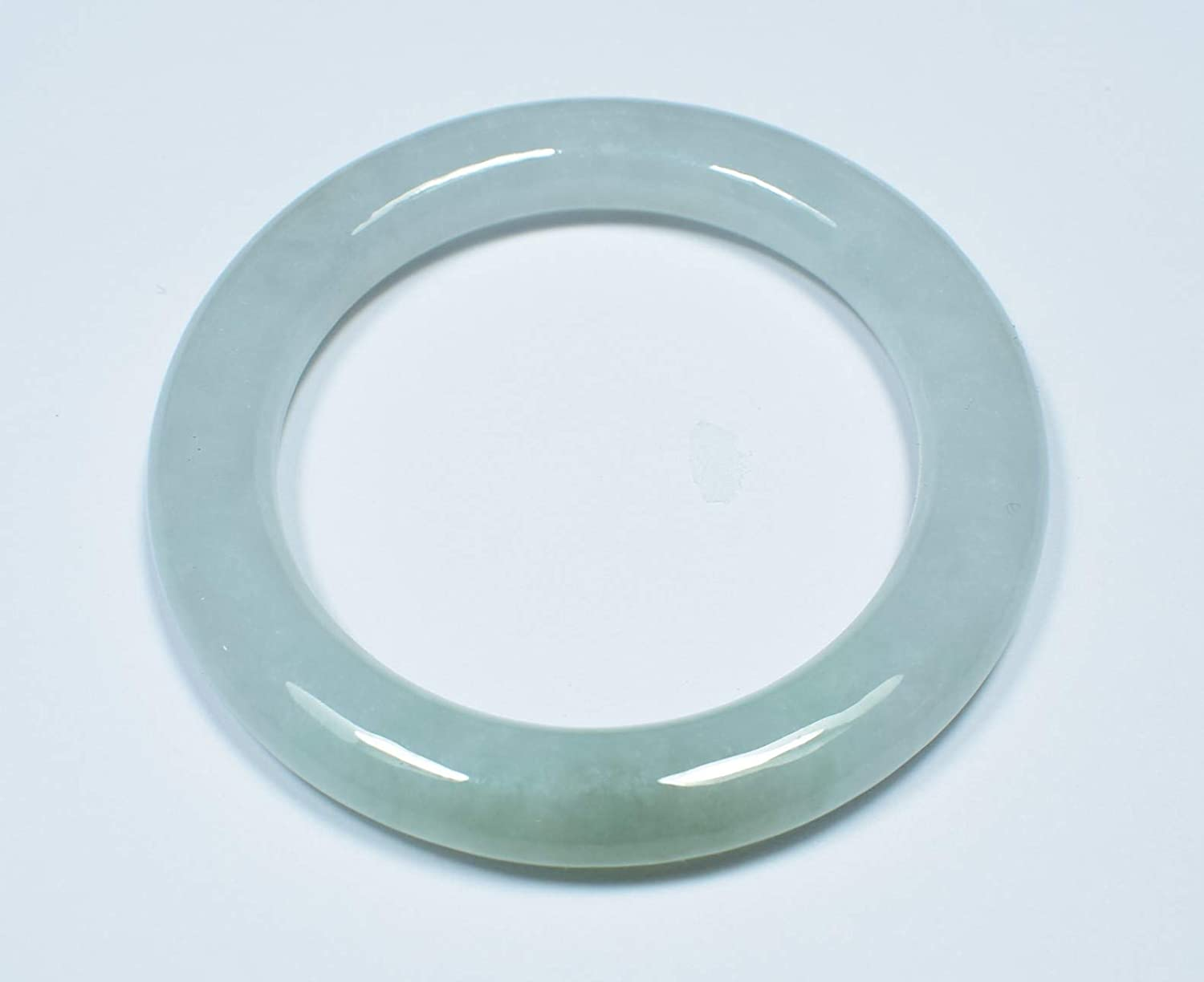 gojade Certified Green 100/% Natural A Jade Jadeite Bangle Bracelet 38.5mm 手镯 702420
