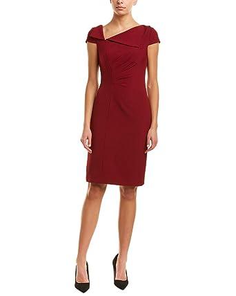 fa4319b197 Tahari ASL Women s Fold-Over Collar Crepe Short Sleeve Crepe Dress Crimson  Red 6