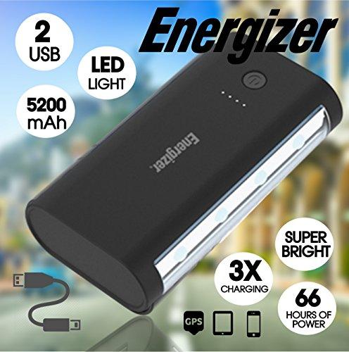 Energizer Backup Battery Power Supply Power Bank Portable Charger Portable Backup Battery Power Supply (66 HOUR LED LIGHT, 5200 mAh)