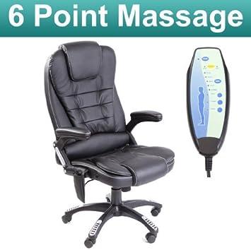 More4Homes - Silla masaje - silla de oficina negra reclinable con 6 ...