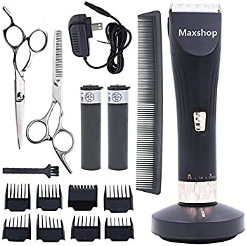 Maxshop Professional Hair Clippers for Men and Babies Quiet Clippers  Cordless Haircut kit with Charging Dock, 8 Comb Guides, 2 Scissors,1 Hair  Comb