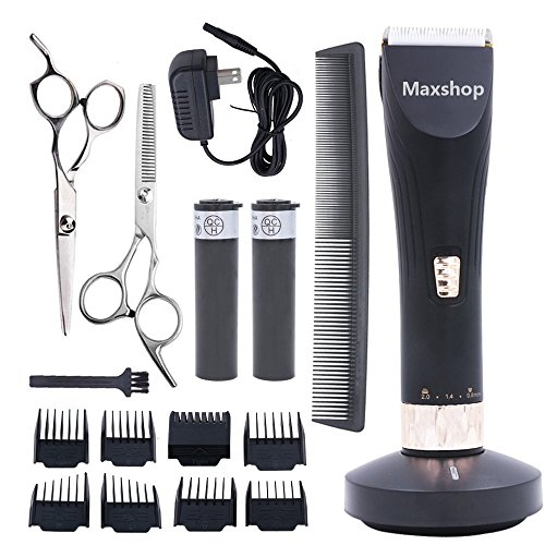 Maxshop Professional Hair Clippers for Men and Babies Quiet Clippers Cordless Haircut kit with Charging Dock, 8 Comb Guides, 2 Scissors,1 Hair Comb Self Hair Cutting System -