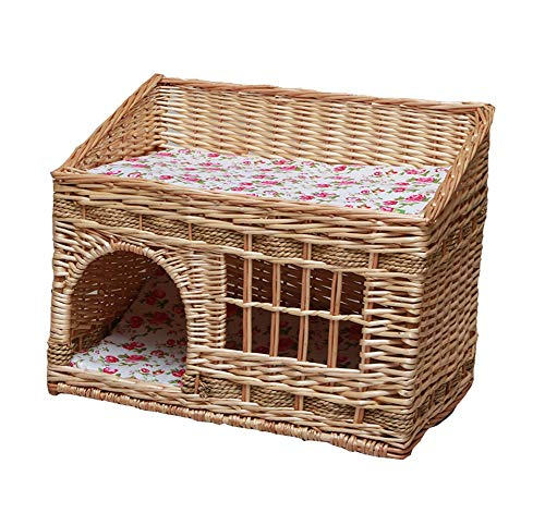 Vedem Pet Two Tier Rattan Wicker Cat House Handmade Cat Condo for Cats and Small Dogs (S, Natural) ()
